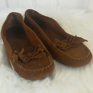 Minnetonka brown suede leather moccasins